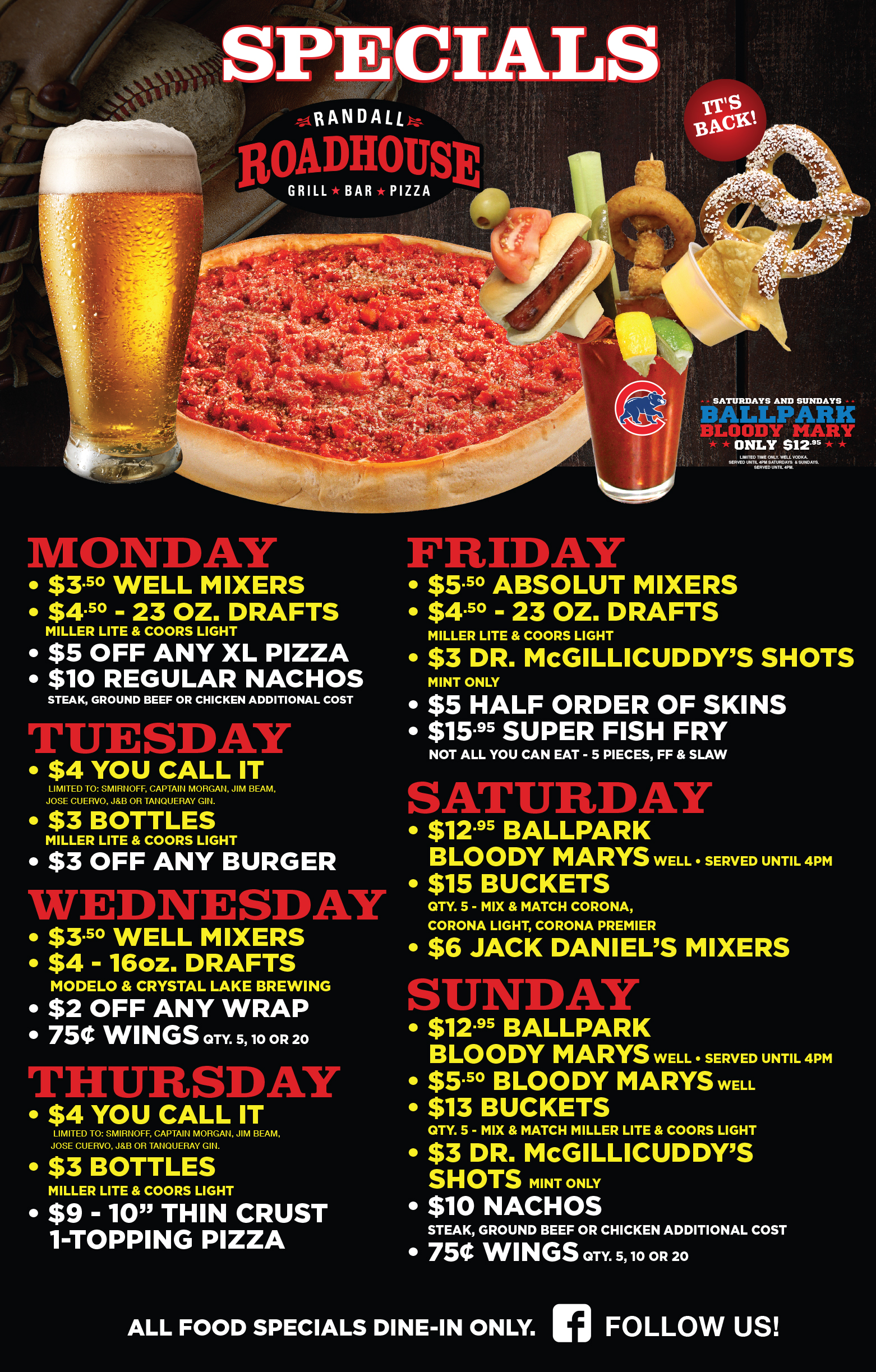 Randall Roadhouse Only Uses The Finest Ingredients And Drink Mixtures For  Its Patrons. We Bring Forth Excellent Food, Drinks, Gaming, Service And  Special ...